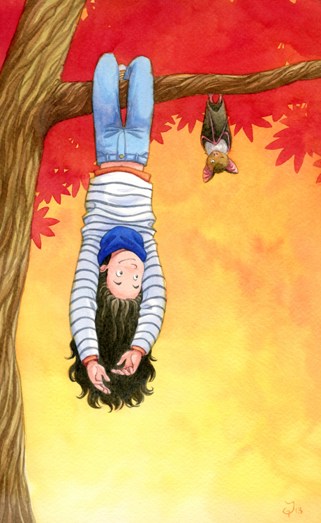 Autumn illustration, girl and bat hanging upside down